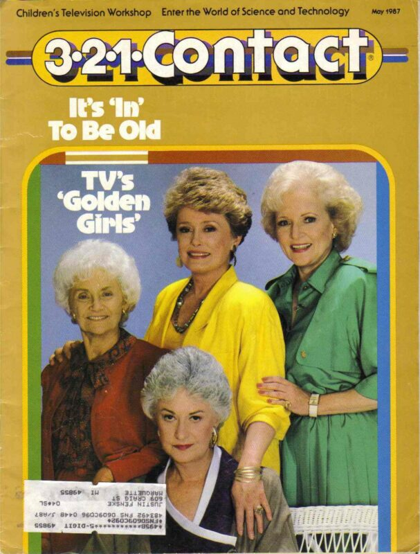 A magazine cover with four older women standing together.